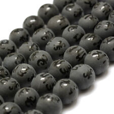 2Strds Natural Agate Guru Beads Frosted Om Mani Padme Hum Buddhist Black 8mm DIA