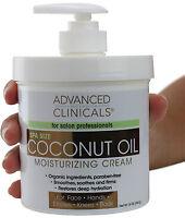 Advanced Clinicals Spa Size Coconut Oil Moisturizing Cream 16 Oz (454g)
