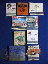 Antique matchbooks, 50's Automobiles, Service Stations, Trucking, 57 Chevrolet