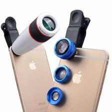 Apexel 4 in 1 Camera Lens 12x White Telephoto Lens/ Blue Fisheye/ Wide Angle