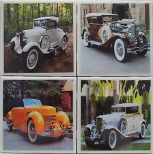Handmade Stone Ceramic Tile Marble Drink Coaster -Set of 4-Classic Automobile 4A
