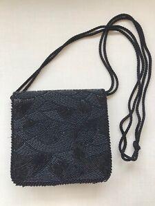 Beautiful Vintage Black Beaded Lanvin Paris Evening Bag