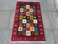 Traditional Tribal Hand Made Persian Oriental Gabbeh Wool Red Blue Rug 127x82cm