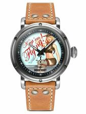 Dogfight Pin-Up Collection KEEP'EM FLYING Brown Leather Mens Pilot Watch DF0040