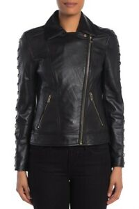 Womens Guess Leather Lace Up Moto Jacket,Black Size XL, Ticket Price $320