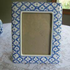 """VTG Philip Whitney Ceramic Blue White Picture Photo Frame New  Holds 4"""" x 6"""""""