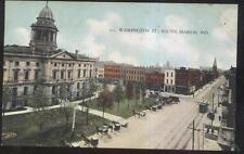 POSTCARD MARION IN/INDIANA WASHINGTON ST BUSINESS STORE FRONT BIRD'S EYE 1907