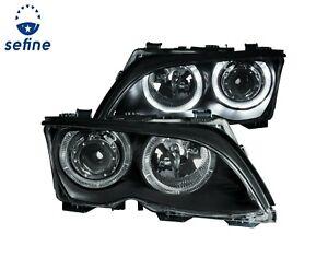 ANZO PROJECTOR HEADLIGHTS BLACK w/ HALO FOR 02-05 BMW 3 SERIES E46 4DOOR#121140