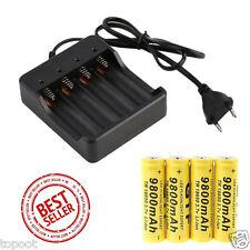 4PCS 18650 3.7V 9800mAh Li-ion Rechargeable Battery+Smart Charger Indicator Hot