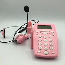 AGPtek Call Center Dialpad Corded Headset Pink Telephone with Tone Dial Key Pad