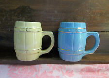 Vintage Yellow and Blue Ceramic Pottery Barrel Style Coffee Tea Mugs Cups