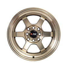 "F1R Wheels F05 Rims 15x8 4x100 4x114.3 +0 Offset 3"" Stepped Lip Machined Bronze"