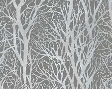 SILVER GREY WOODS WOODLAND FORREST FEATURE DESIGN WALLPAPER AS CREATION 30094-3