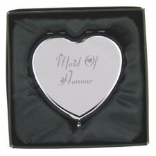 Engraved Maid/Matron of Honour Heart Compact Mirror & Gift Box FREE ENGRAVING