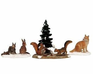 Lemax Decoration 'Woodland Animals', Christmas Cake Decorating,Set of 4 Figures