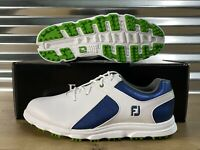 FootJoy FJ Pro SL Junior Golf Shoes Spikes White Blue Green Youth SZ ( 45039 )