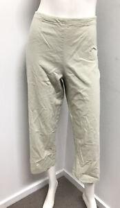 NICOLA WAITE avocado linen blend super stretch crop Pants ~ sz 10 12 (2)