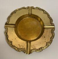 Brass Ashtray Coin Key Trinket Tray Dish Bowl Ornate Vintage Hollywood Regency