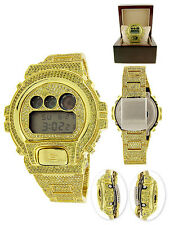 New All Yellow Mens Real G-Shock Simulated Diamond Watch+Bezel+Watch Band 10 Ct