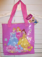 DISNEY 3 PRINCESS SPARKLE TOTE PURSE~NEW~PINK HAND BAG GIRLS ACCESSORY PURSE