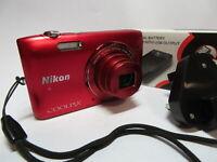 Nikon Coolpix S3500 20.1MP 7x Wide Nikkor Zoom Red Digital Camera & 8GB SD