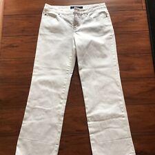 TRINA TURK Women's White Stretch Denim Size 6 Mid Rise Straight Slim Leg Jeans