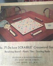 Vintage No 71 Deluxe Scrabble Crossword Game Board Tiles Scoring Racks Vintage