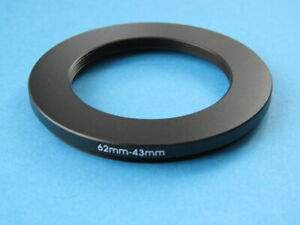 62mm to 43mm Stepping Step Down Ring Camera Lens Filter Adapter Ring 62-43mm
