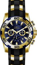 Invicta Men's Pro Diver Chrono 100m Gold Plated Case Black Silicone Watch 22313
