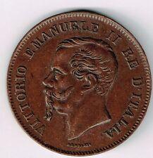 ITALY 1862N 5 CENTESIMI VITTORIO EMANUELE II COPPER FOREIGN COIN HIGH GRADE NICE