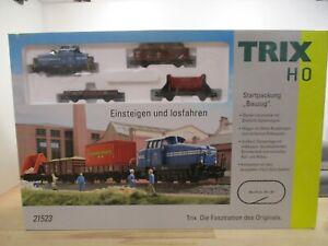 """Trix H0 21523 Startpackung """"Bauzug"""" mit Diesellok DHG 500 + 3 Wagen Analog OVP"""