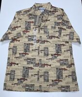 Columbia Mens Small River Lodge button Front Shirt NEW NWT $45 Fish pattern