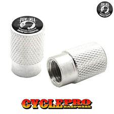 2 Silver Billet Knurled Tire Valve Cap Motorcycle - POW MIA - 001