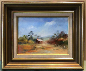 Norma Turner Colonial Homestead Framed Oil Painting