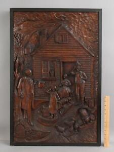 Lrg Antique 19thC American Folk Art Carved Wood Plaque Abe Lincoln Country Home