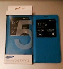 Genuine Cuero PU Samsung Galaxy S5 V caso batería inteligente S View Abatible Cubierta Azul