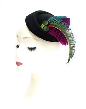 Black Green Plum Purple Pink Feather Pillbox Hat Hair Fascinator Races Vtg 2284