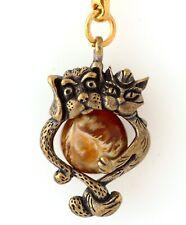 Cat and Dog Brass Bronze Keychain Keyring Animal Figurine Baltic Amber Pendant