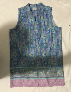 SUSSAN BLUE LIME WHITE MAUVE PAISLEY LOOSE BUTTON FRONT NIGHTIE XXL NEW RP$59.95