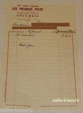 FACTURE de 1951 : Les MEUBLES PICOT - Tapis - Lustres - Décoration - COLOMBES
