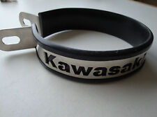 KAWASAKI EXHAUST END CAN STRAP + RUBBER, LOGO LASER CUT, OVAL OR ROUND, NEW