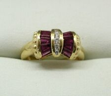 Vintage Beautiful 14 Carat Gold Ruby And Diamond Bow Shaped Dress Ring Size J