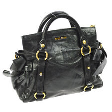 Auth MIUMIU Logos Hand Bag Black Vitello Shine Leather Italy Vintage NR09938
