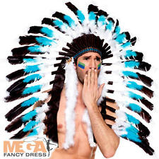 Native American Feather Headdress Chief Mens Red Indian Fancy Dress Costume Hat