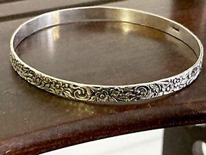 """Vintage 925 Sterling Silver 8"""" Floral Bangle Bracelet 10.3g STUNNING!! Free Ship"""