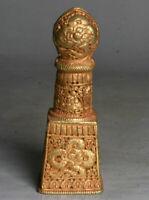 4.4 pouce vieux tibet cuivre or bouddhisme 8 bon symbole dragon signet seal