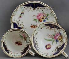 VINTAGE UNMARKED TEACUP/COFFEE CUP & SAUCER-GOLD/NAVY BLUE/FLOWERS  M 213