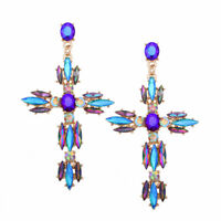 18K Gold Plated Cross Crystal Butterfly Earrings For Fashion Women Jewelry Gifts