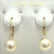 PEARLS & WHITE SAPHIRE EARRINGS 14K WHITE GOLD *** Free Shipping Service ***