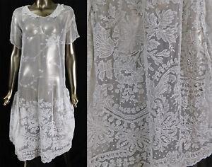 Vintage White Tambour Embroidered Net Irish Crochet Lace Collar Drop Waist Dress